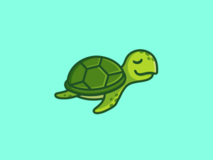 cartoon sea turtle logo design