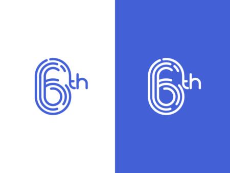 Number 6 typography logo design