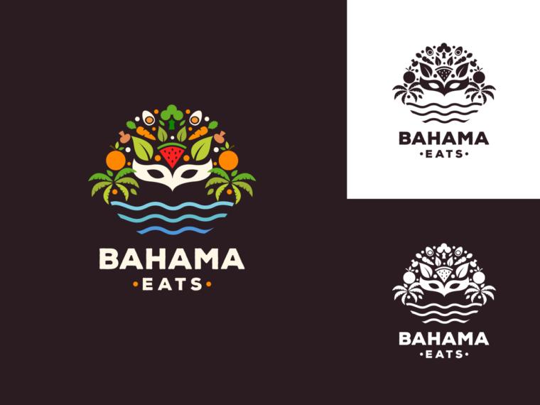 tropical food logo design fruit mask