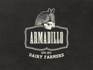 Armadillo Dairy farm vintage logo design