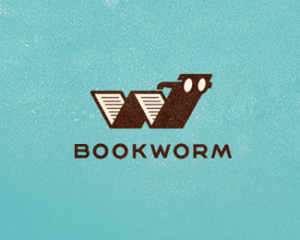 bookworm book with glasses logo