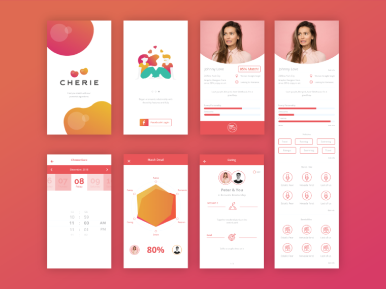 Cherrie Dating App Inner Pages Design