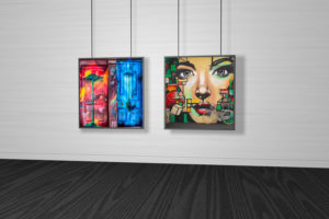 Free Gallery Interior Poster Frame Mockup PSD