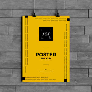 free hanging over wall poster mockup