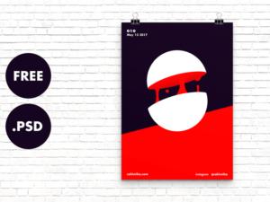 Free Poster Mockup black red