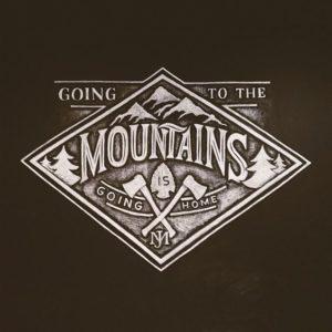 Mountains crossed axes vintage logo design