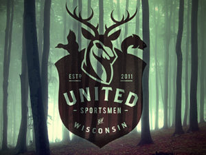 United Sportsmen of Wisconsin Lock-up Vintage Logo Design