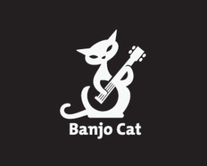 banjo cat white logo design