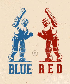 blue vs red robot vintage logo design