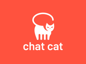 chat cat white cat on red background