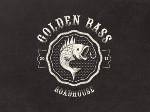 goldenbass fish vintage logo design