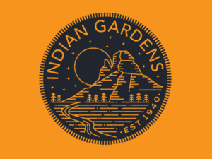 indian gardens vintage logo design