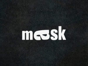 mask minimalist type typographic logo design