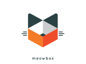 meowbox geometrical cat logo design