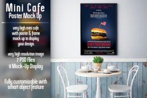mini caffe poster mockup