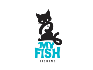 my fish fishing cat holding a fish logo design