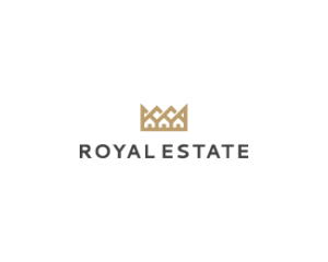 royal estate crown minimalist logo design