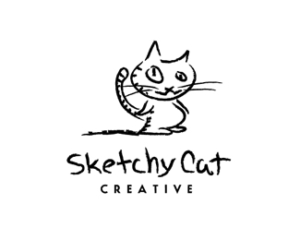 sketchy cat pencil drawn logo design