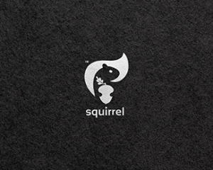 squirrel holding a nut logo design