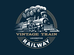 vintage train logo design