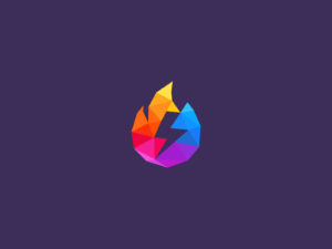 flaming colorful bolt